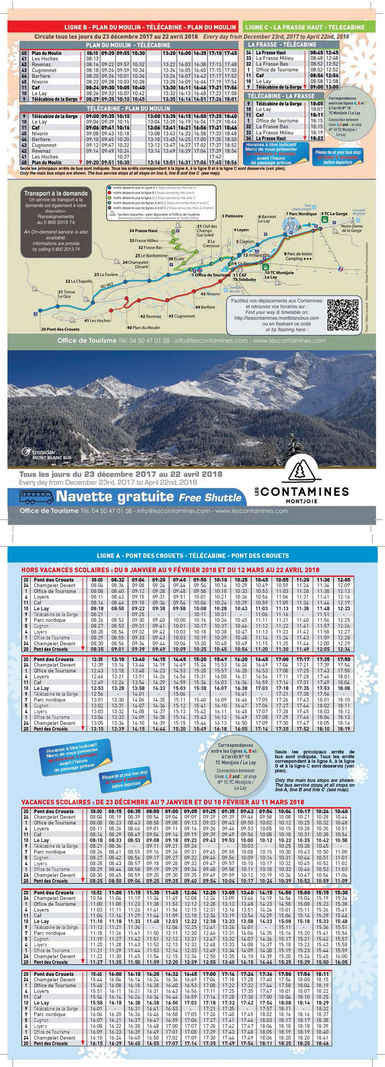 Les Contamines Ski Bus Timetables