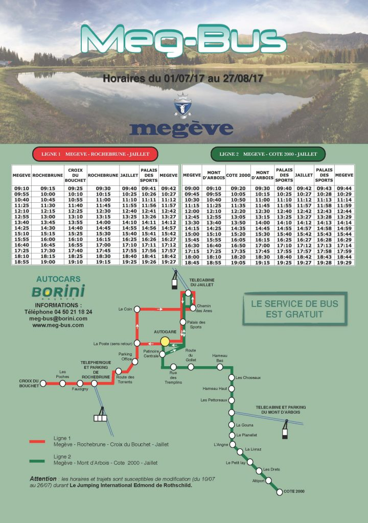 Megeve Ski Bus Timetables