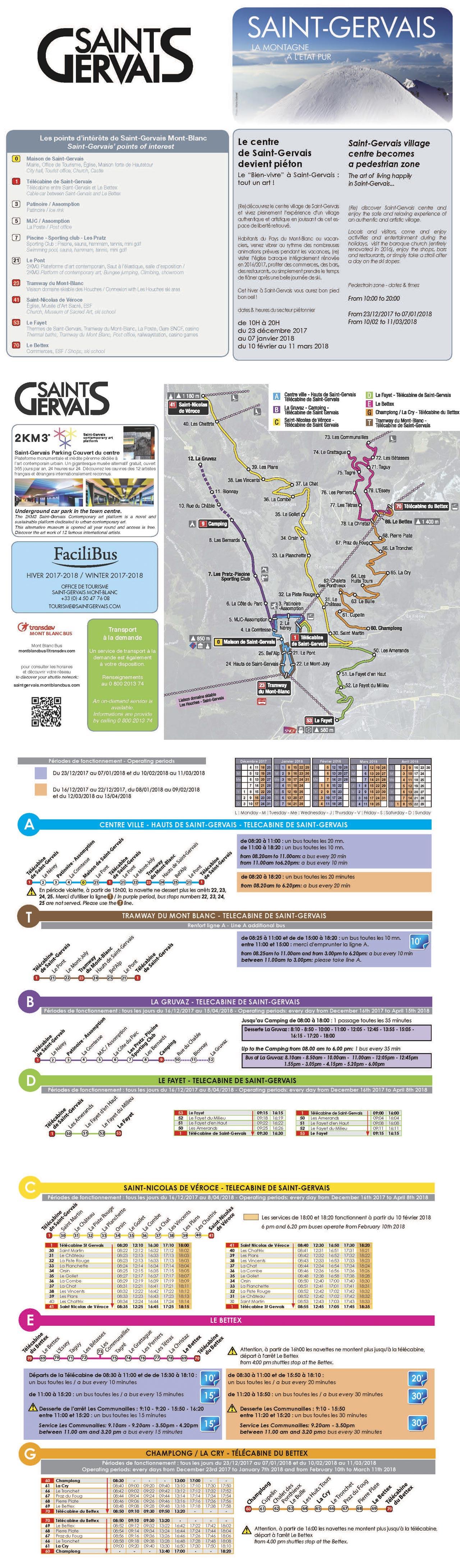 St Gervais Ski Bus Timetables
