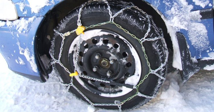 Snow Chains Driving On Snow